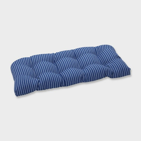 Resort Stripe Wicker Outdoor Loveseat Cushion Blue - Pillow Perfect - image 1 of 2