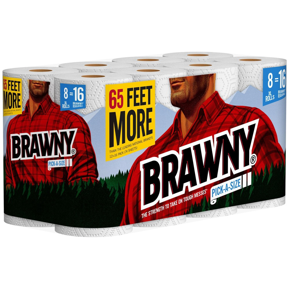 Brawny Pick-A-Size Paper Towels - 8 XL Rolls Bring home Pick-a-Size Paper Towels from Brawny to thoroughly clean up any messes around your home. Perfect for any kind of mess, these Pick-a-Size embossed paper towels are super soft and absorbent to tackle any task. Pick-a-Size XL offers 15 feet more than the leading national brands and 2 XL Rolls equal 4 Regular Brawny Rolls. One of these two-ply paper towels absorbs as much as two regular paper towels, letting you use fewer paper towels to clean up spills. Brawny Paper Towels are also perfect for food preparation, cooking, cleaning kitchen countertops and bathroom surfaces. Customize your clean with Brawny Pick-a-Size Paper Towels. Since 1974, the Brawny brand has been an American icon of strength and durability. It is the original, big, tough towel. Made to be gentle but engineered to handle the tough messes life can dish out. Size: 8ct.