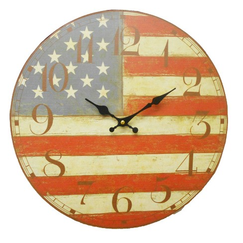 USA Flag Round Wall Clock - Creative Motion Industries - image 1 of 4