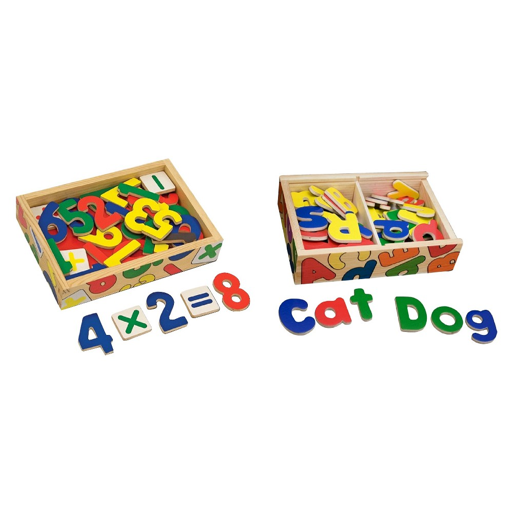 Melissa & Doug Deluxe Magnetic Letters and Numbers Set With 89 Wooden Magnets Easy to position and reposition on any magnetic surface, these shaped wooden magnets are a playful way to introduce letters and numbers! A terrific tool for hands-on exploration of these key early learning concepts-the building blocks for writing and math skills-this brightly colored collection naturally encourages sorting, matching, fine motor skills, and hand-eye coordination, too. Each set (Letters and Numbers) is housed in a sturdy wooden case with a see-through, slide-shut lid. Gender: Unisex.