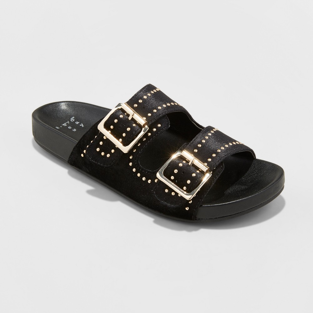 Women's Mags Velvet Pin Stud Two Buckle Slide Sandals - A New Day Black 11