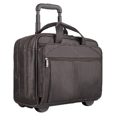 """Solo Classic Leather 17"""" CheckFast Rolling Carry On Suitcase - Espresso"""