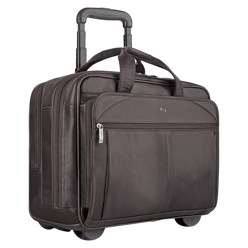 "Image of ""Solo Classic Leather 17"""" CheckFast Rolling Carry On Suitcase - Espresso, Brown"""