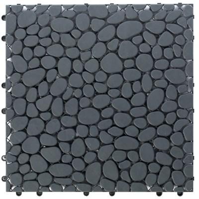 Gardenised Interlocking Cobbled Stone Look Garden Pathway Tiles, Decorative Floor Grass Pavers Anti- Slip Mat, 5 pack