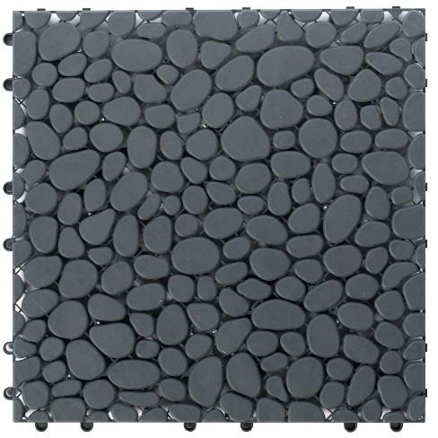 Gardenised Interlocking Cobbled Stone Look Garden Pathway Tiles, Decorative Floor Grass Pavers Anti- Slip Mat, 5 pack   - image 1 of 4