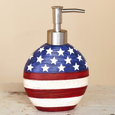 Lakeside American Flag Soap or Lotion Pump Dispenser - Patriotic Bathroom Accent