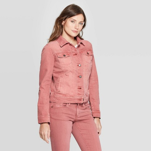 Women's Freeborn Denim Jacket - Universal Thread™ Rose XXL - image 1 of 3
