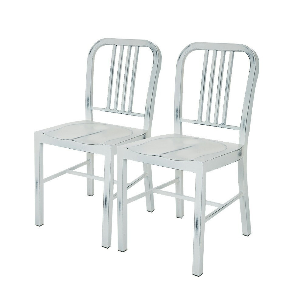 Pleasing Set Of 2 Vintage Metal Dining Chair White Glitzhome Bralicious Painted Fabric Chair Ideas Braliciousco