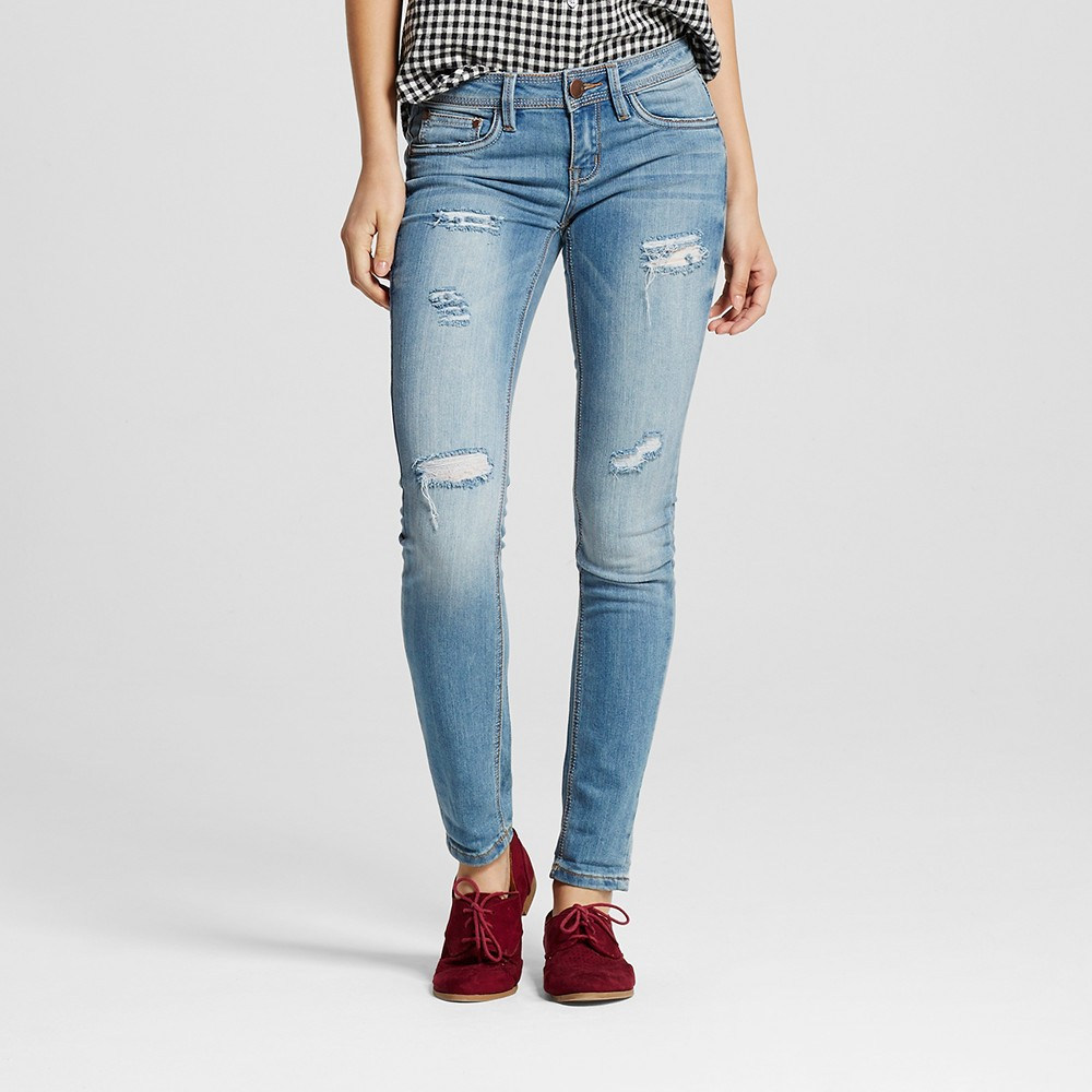 Women's Destructed Rolled Skinny Jeans Light Denim 5 - Dollhouse (Juniors')