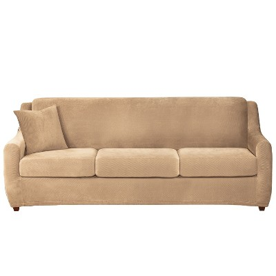 3 Seat Sleeper Stretch Pique Sofa Slipcover - Sure Fit