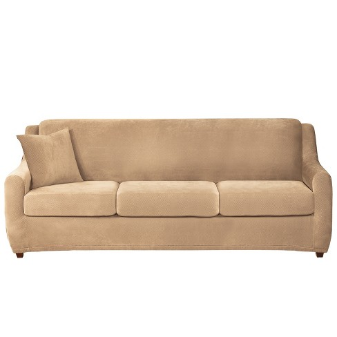 Stretch Pique 3 Seat Sleeper Sofa Slipcover - Sure Fit