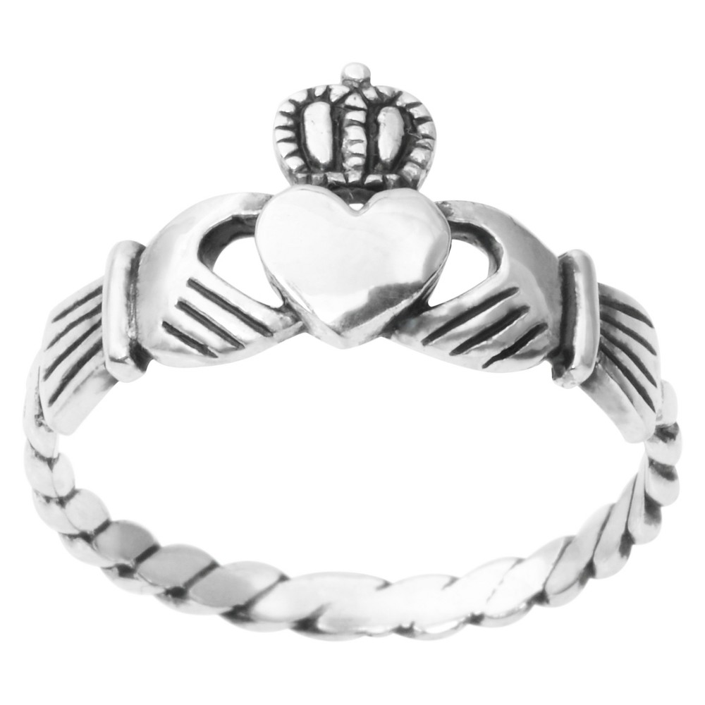Women's Journee Collection Claddagh Ring in Sterling Silver - Silver (7)