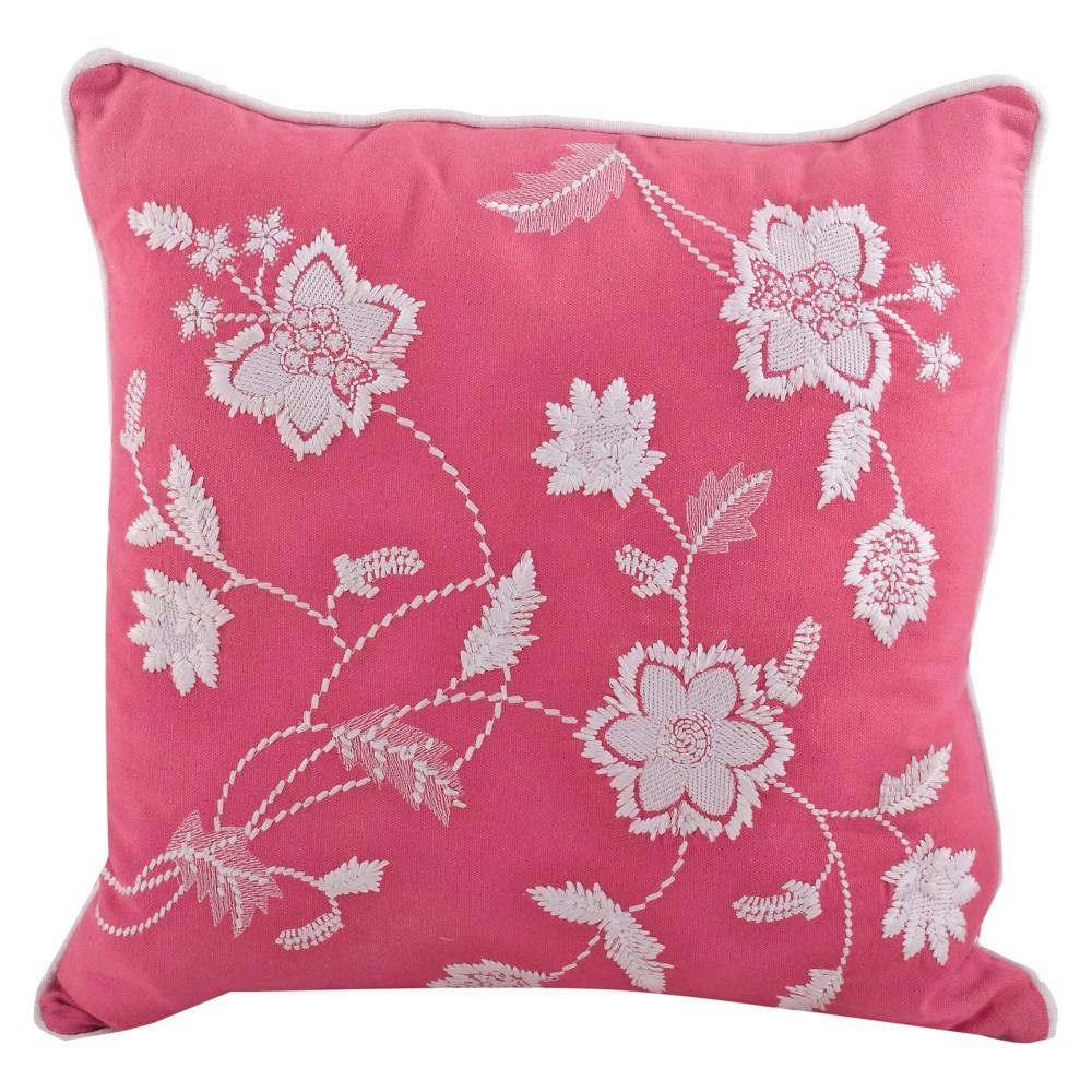 18 34 X18 34 Embroidered Floral Design Throw Pillow Sorbet Saro Lifestyle