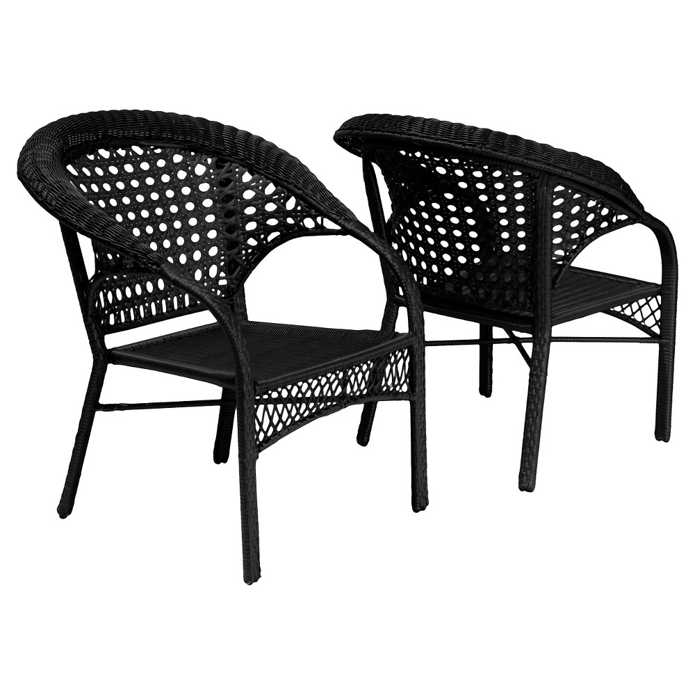Maria Set of 2 Wicker Fan Back Patio Chairs - Black - Christopher Knight Home