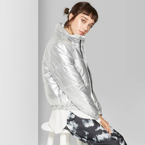 Women's Zip-Up Puffer Jacket - Wild Fable™ Silver - image 1 of 3
