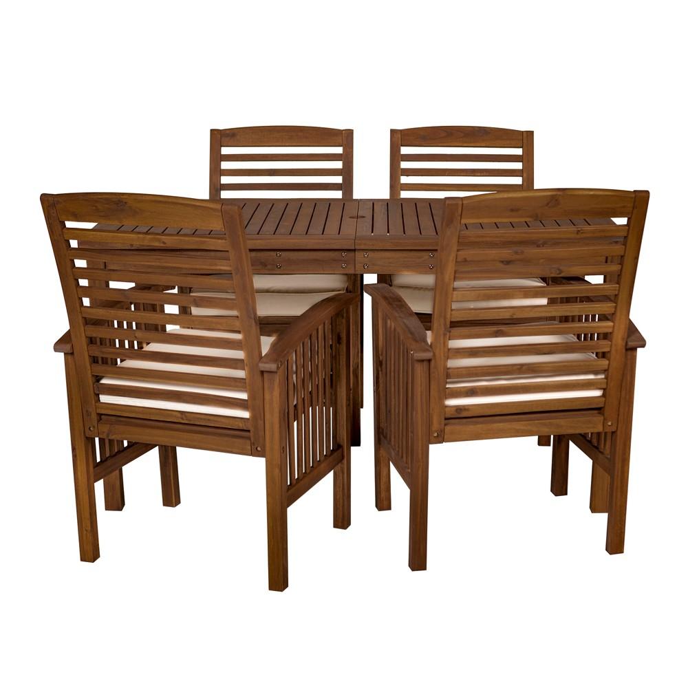 5pc Acacia Wood Simple Patio Dining Set Espresso Brown - Saracina Home