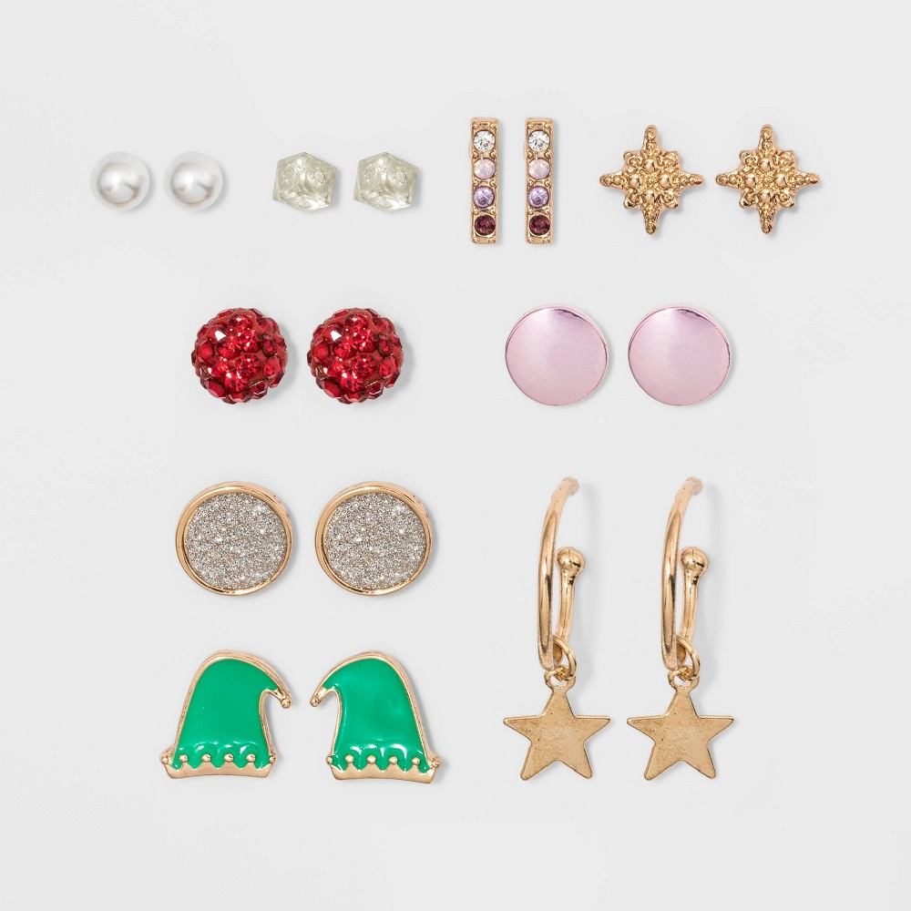 Image of Simulated Pearl Stone Bar Cube Star Boxed Novelty Earrings, Women's, MultiColored