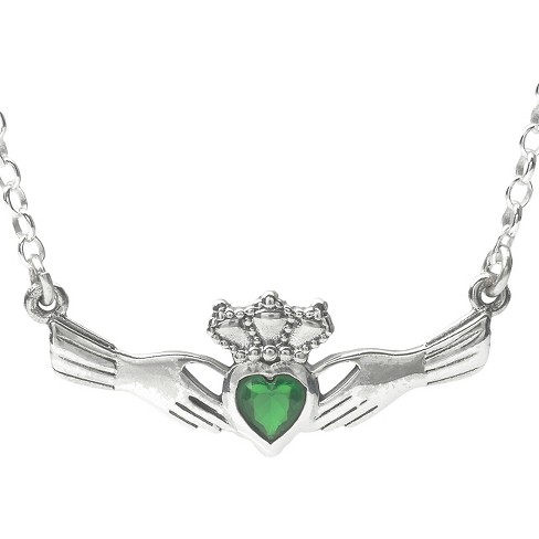 1/3 CT. T.W. Journee Collection Heart Cut CZ Bezel Set Claddagh Necklace in Sterling Silver - Green - image 1 of 2