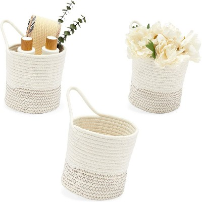 Farmlyn Creek 3-Pack White Cotton Woven Baskets for Storage, Round Hanging Organizers (7 x 7.5 in)
