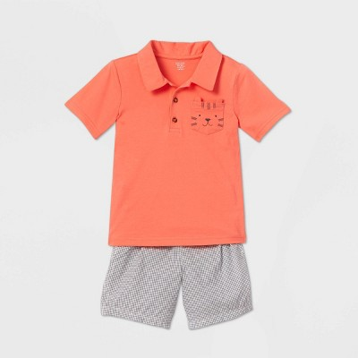 Toddler Boys' 2pc Tiger Graphic Top & Bottom Set - Just One You® made by carter's Orange