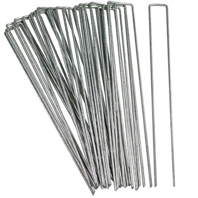 """Sunnydaze Outdoor Lawn and Garden Galvanized Steel Staple Stakes for Landscape Fabric, Fences, and Sod - 12"""" - 25pk"""