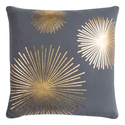 Star Burst Throw Pillow Gray/Gold - Rizzy Home