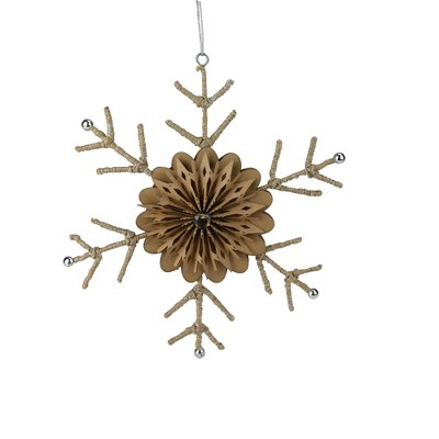 """Ganz 10"""" Brown and Silver Rustic Snowflake Christmas Ornament"""