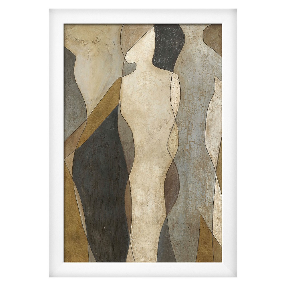 Figure Overlay I by Megan Meagher, White Wood Framed Art Print, Silver