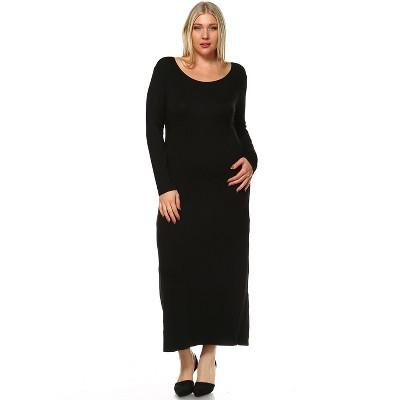 Women's Plus Size Long Sleeve Maxi Dress - White Mark