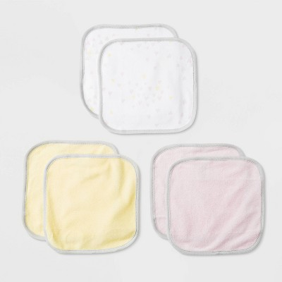 Baby Girls' 6pk Oh Honey Bee Washcloth Set - Cloud Island™ White/Yellow/Pink One Size