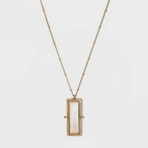 Etched and White Cateye Rectangular Spinner Pendant Necklace - Universal Thread™ White - image 1 of 3
