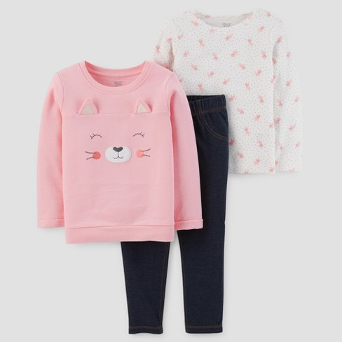 Toddler Girls' 3pc Cotton Kitten Set - Just One You™ Made by Carter's®  Pink 5T - image 1 of 1