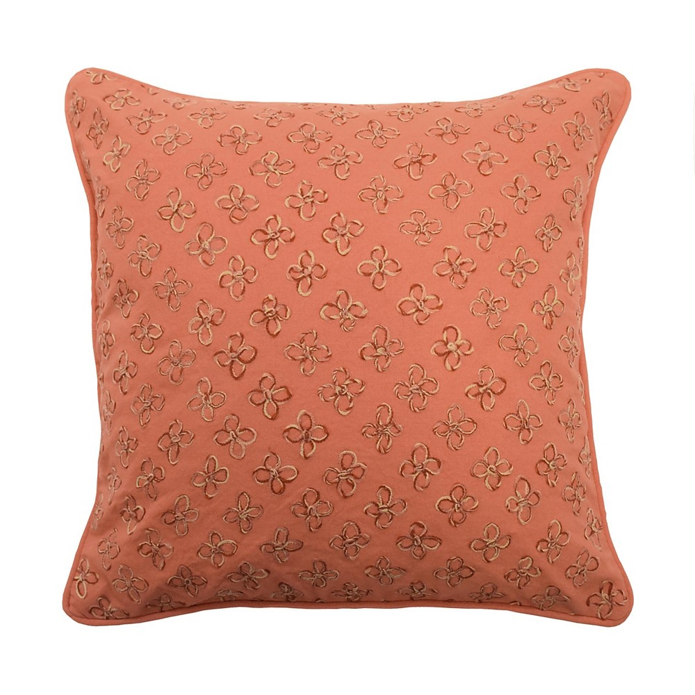 Laurel Springs Applique Throw Pillow Orange Waverly