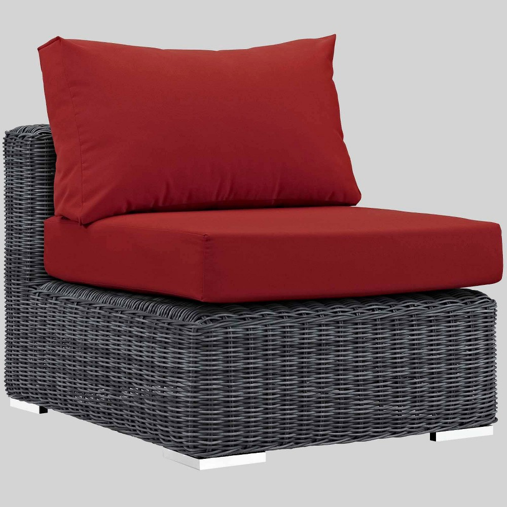 Summon Outdoor Patio Armless Chair with Sunbrella Fabric - Red - Modway