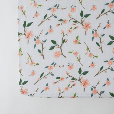 Red Rover Cotton Muslin Crib Sheets - Peach Blossom