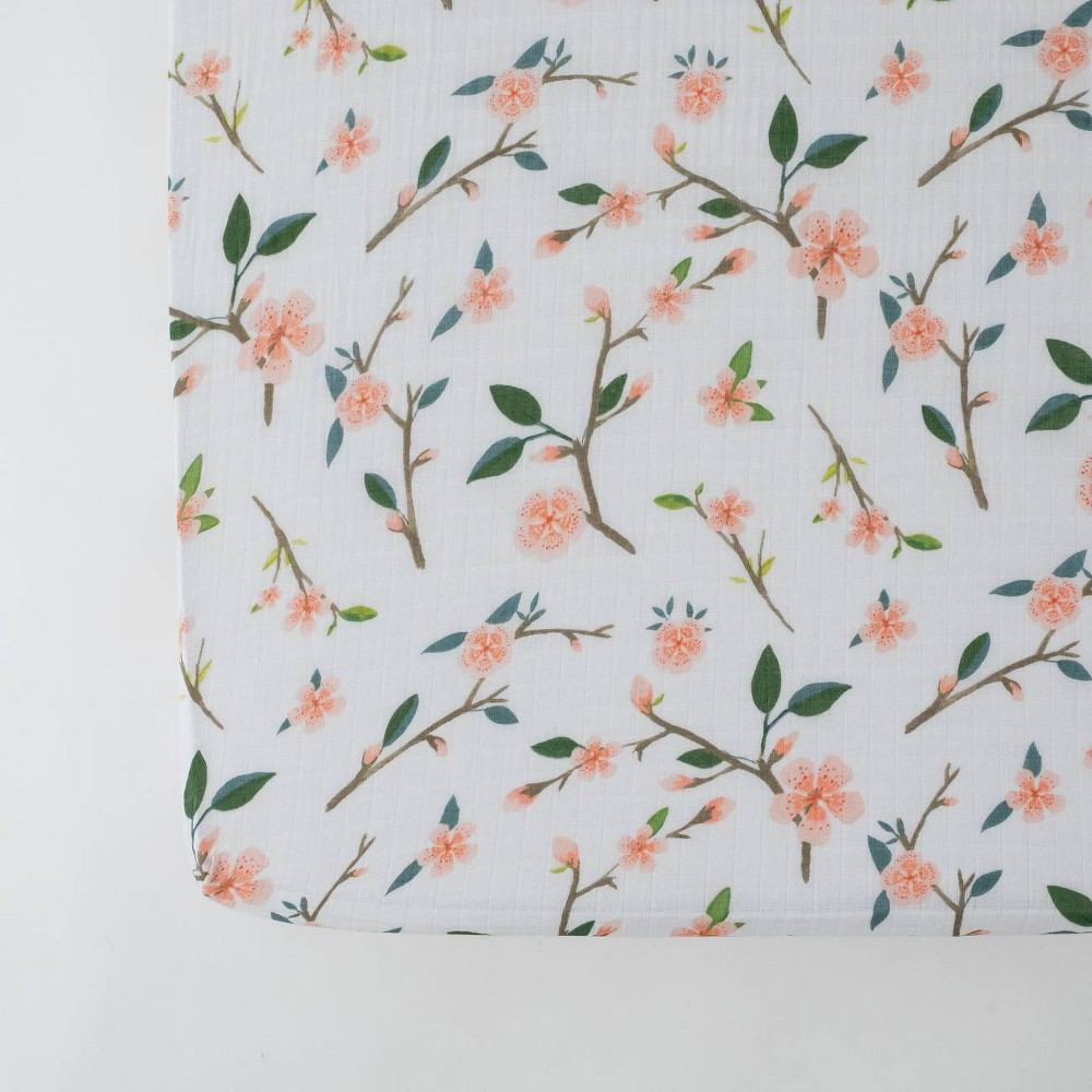 Image of Red Rover Cotton Muslin Crib Sheets - Peach Blossom