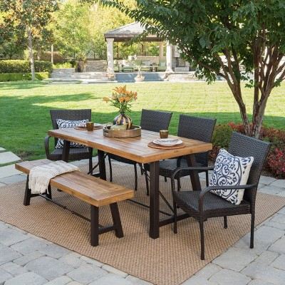 Salons 6pc Acacia & Wicker Dining Set - Teak/Brown - Christopher Knight Home