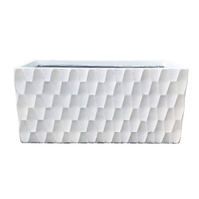 Kante Lightweight Outdoor Retro Rectangular Concrete Planter Pure White - Rosemead Home & Garden, Inc.
