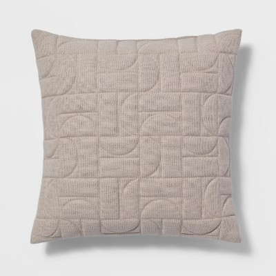 Quilted Geo Square Throw Pillow Neutral - Project 62™