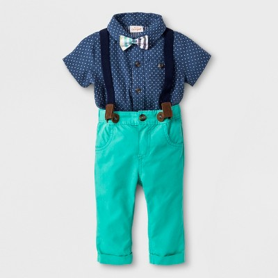 Baby Boys' 4pc Short Sleeve Button-Down Shirt, Pants, Bow Tie and Suspenders - Cat & Jack™ Green/Blue 12M