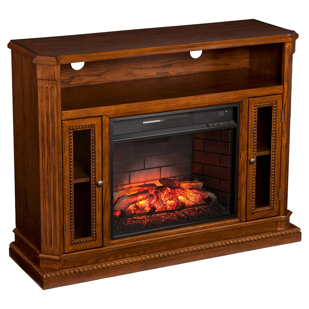 Ashton Infrared Electric Fireplace Media Stand, Brown