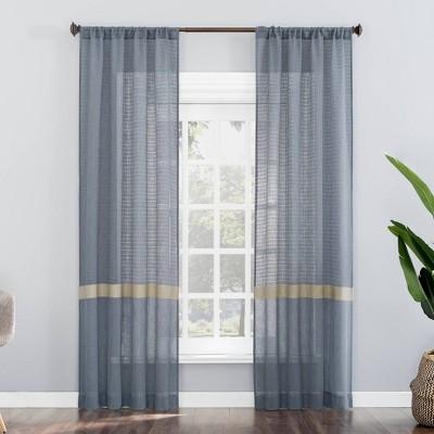 Elsy Border Striped Leno Weave Semi-Sheer Rod Pocket Curtain Panel - No. 918