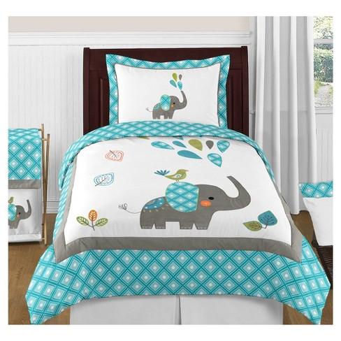Turquoise White Mod Elephant Comforter Set Full Queen Sweet Jojo Designs