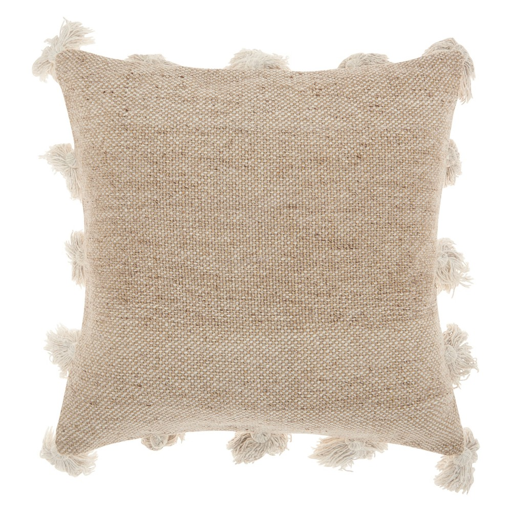 Life Styles Tassel Border Square Throw Pillow Beige - Mina Victory