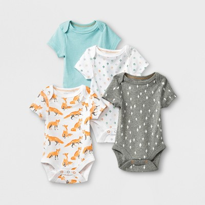 Baby 4pk Short Sleeve Bodysuit - Cloud Island™ 0-3M