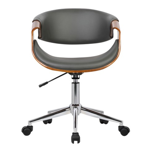 85fe75be9a Geneva Mid-Century Office Chair In Chrome Finish With Gray Faux Leather And  Walnut Veneer Arms - Armen Living   Target