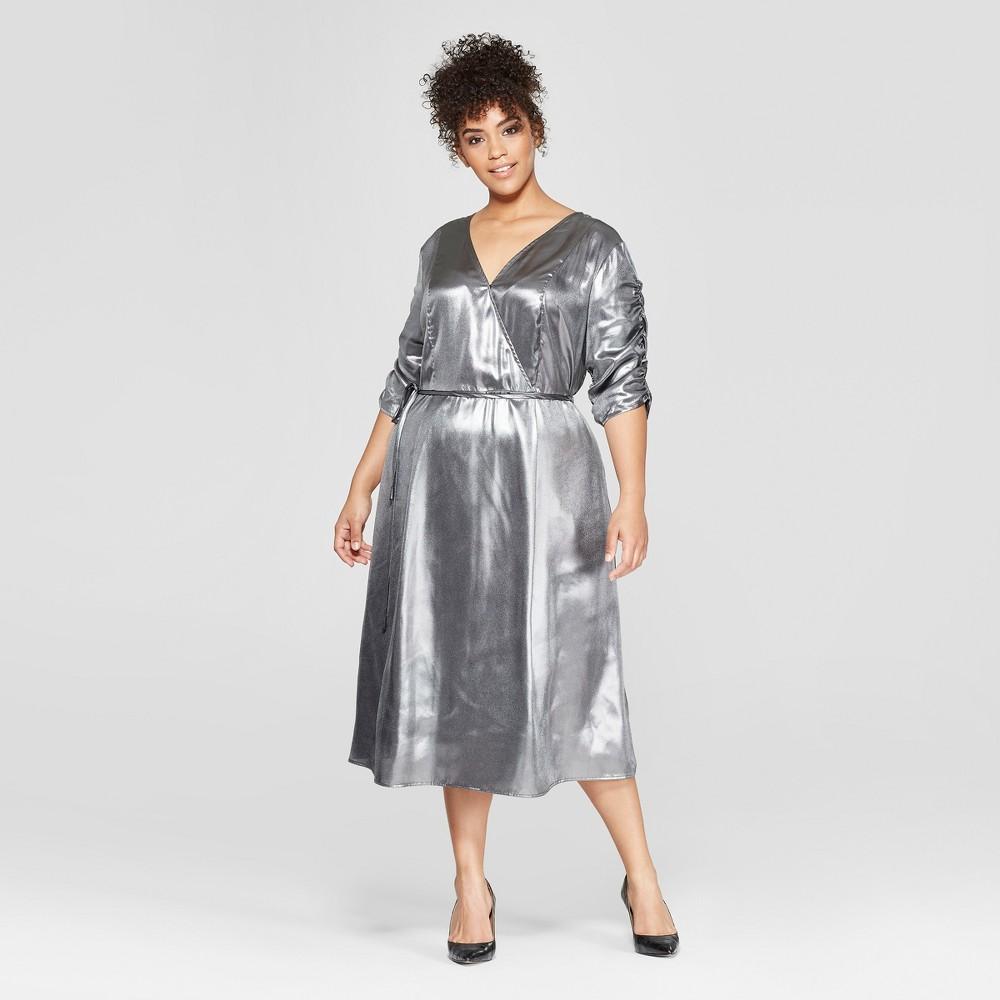 Women's Plus Size Short Shirred Sleeve Midi Dress - Who What Wear Silver 1X