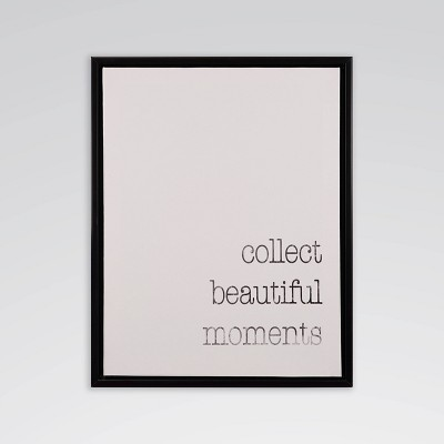 """12.3"""" x 15.3"""" Collect Beautiful Moments Framed Printed Canvas Wall Art - Threshold™"""
