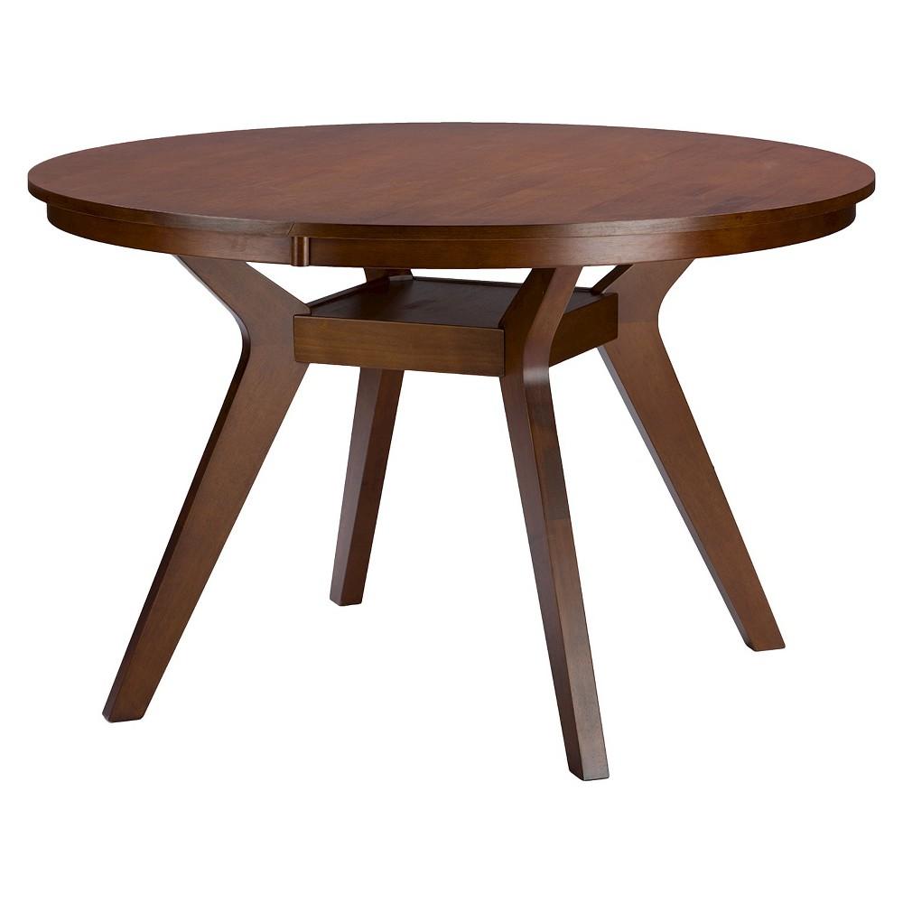 Montreal Mid-Century Round Wood Dining Table - Brown Walnut - Baxton Studio