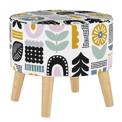 Round Ottoman with Splayed Legs Helsinki Block Lavender - Skyline Furniture